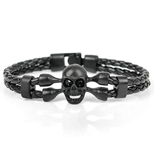 Bracelet Skull Leather Bracelet For Man Leather Bracelets Knighthood Charm Skeleton Bracelets Lightyellowcolor