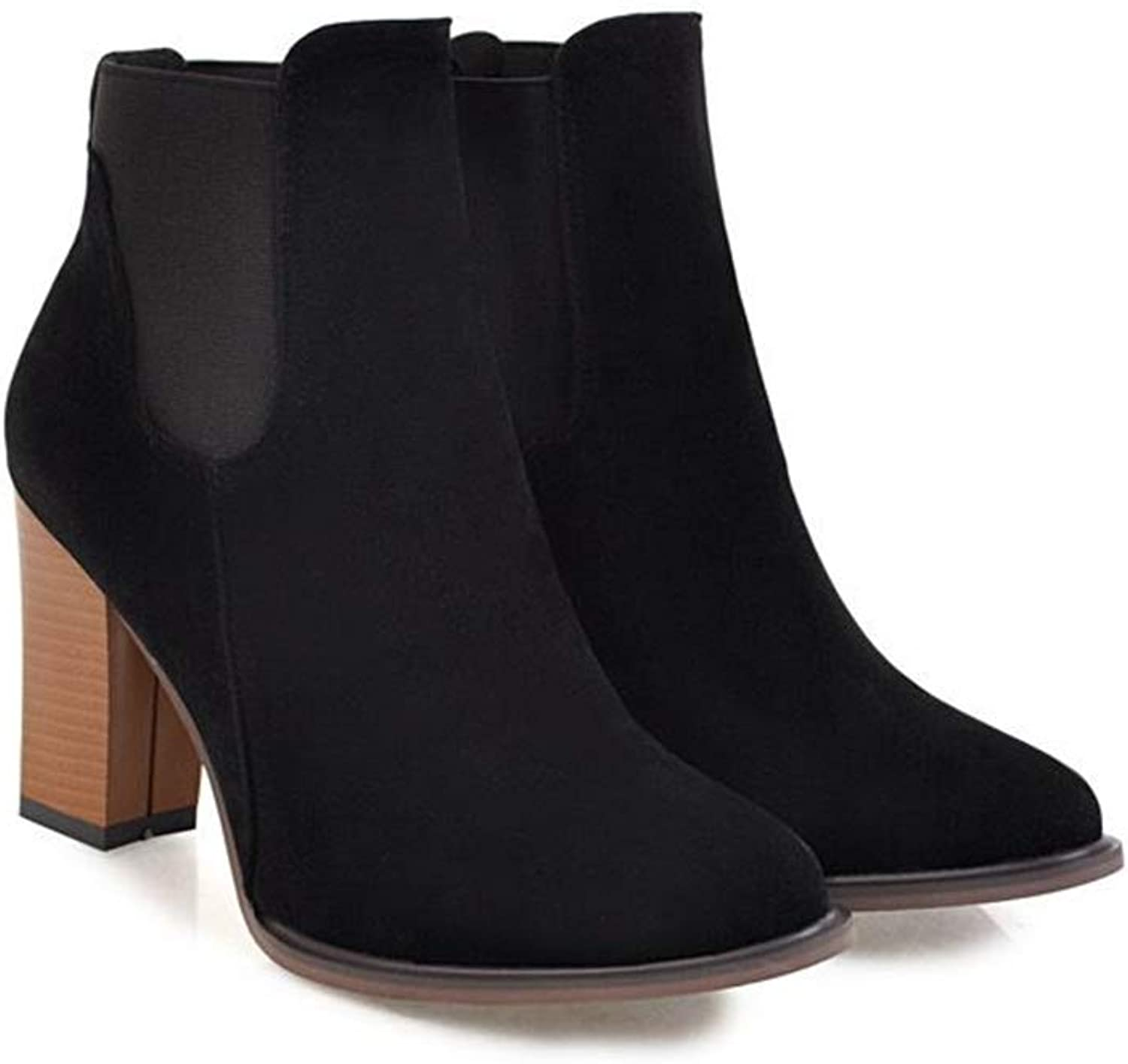 Smart.A Women's Suede Chunky Heel Ankle Boot
