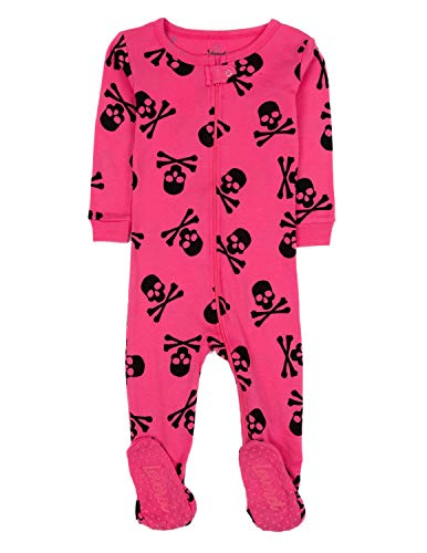 Leveret Kids Pajamas Baby Boys Girls Footed Pajamas Sleeper 100% Cotton (Size 6-12 Months-5 Toddler) (5 Toddler, Skull Pink)