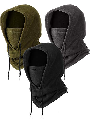 Geyoga 3 Pieces Tactical Heavyweight Balaclava, Men's Winter Fleece Balaclava for Outdoor Hiking Camping Hiking Skiing Cycling and Motorcycle