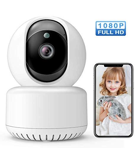 Camara Vigilancia WiFi Interior 1080P HD con Visión Nocturna, Detección de Movimiento, Cámara de Mascota,Audio de 2 Vías Monitor para Bebe/Perros Compatible con iOS Android