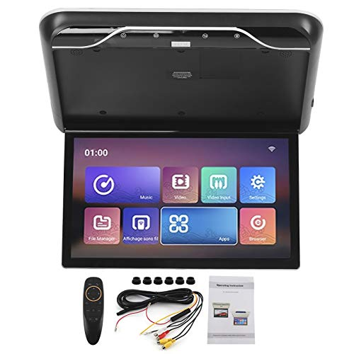 Akozon - Reproductor de DVD para techo de coche (19 pulgadas, pantalla abatible, televisor de techo, HDMI- compatible con el mando a distancia para Android 9.0, pantalla superior, color negro)