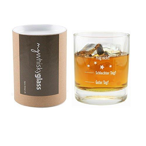 4you Design Leonardo Whiskyglas Guter Tag, Schlechter Tag - Frag Nicht!,MIT GESCHENKBOX Geschenk für Männer, Herren, Geschenkidee, Geburtstagsgeschenk, Geschenk zum Vatertag, für ihn