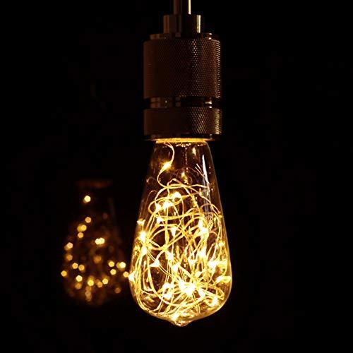 GBLY LED Glühbirne E27 Vintage Deko Edison Glühlampe Warmweiß Kreative Lichterkette ST64 Birneförmige Dekorative Beleuchtung für Haus, Party, Hochzeit, Bar, Festdekorationen, Nicht Dimmbar