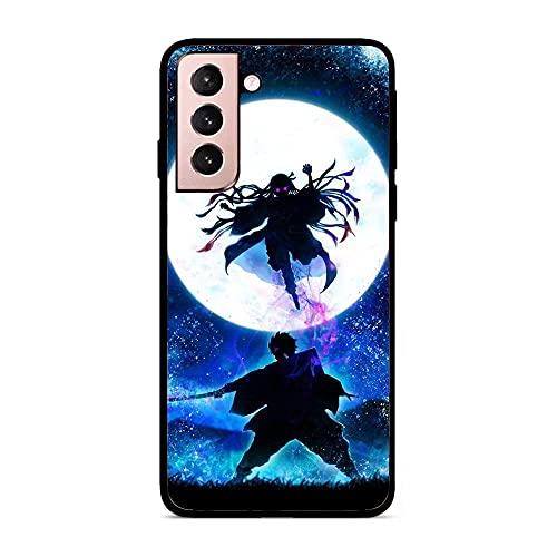 K-Kickim Soft Black Ultra Thin Rubber Flexible Shell Case for Samsung Galaxy S21+/S21 Plus-Demon-Slayer No-Yaiba Moon 1