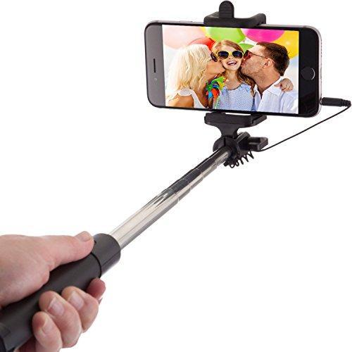 Nikud Selfie Batteria Supporto per telefoni cellulari Supporto telefonico estensibile (senza Bluetooth) per viaggi, foto amici, intrattenimento per la famiglia, autoritratto per Iphone 5 5s 6 6s 7 plus e smartphone Android Samsung Galaxy S3 S4 S5 S6 S7 S8 Edge,Nero