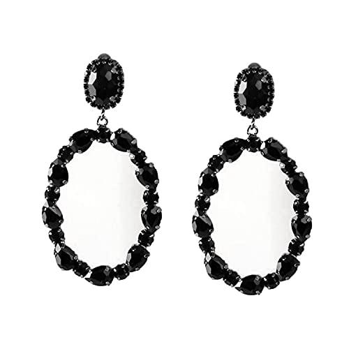 Schmuckanthony Hoernel - Pendientes de aro largos y ligeros con forma ovalada, de cristal, color negro, 8 cm de largo