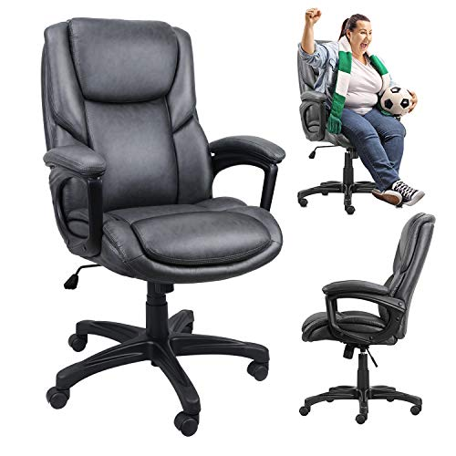 Big and Tall PU Leather Office Chairs,Adjustable Tilt Angle Executive Computer Desk Chair, Thick Cushions Ergonomic Design Home Chair, High Back Swivel Task Chair with Lumbar Support,330LBS (Grey)