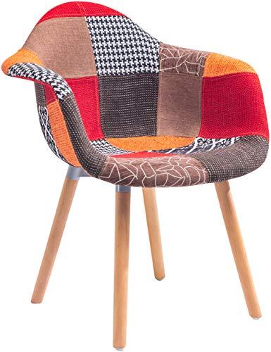 ts-ideen 2er Set Design Klassiker Patchwork Sessel Retro 50er Jahre Barstuhl Wohnzimmer Büro Küchen Stuhl Esszimmer Sitz Holz Stoff Bunt Rot