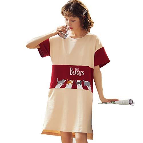 FLORVEY Moda Mujer Falda de Noche Primavera Ocio algodn Ropa para el hogar camisn de Manga Corta Dibujos Animados seoras Ropa de Dormir Pijamas Pijamas