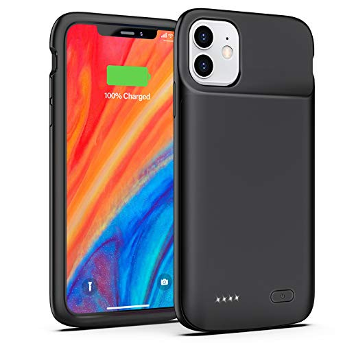 iPhone 11 Battery Case, 5000 mAh Rechargeable Extended Battery Charging Case for iPhone 11, Portable Protective Charger Case Compatible with iPhone 11(6.1 inch) by OMEETIE (Black)