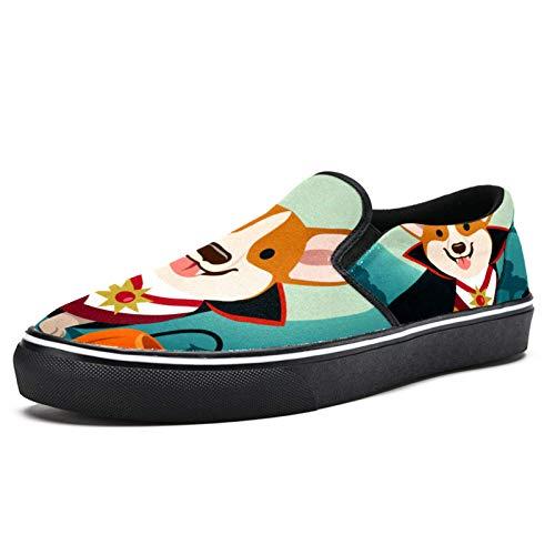 Anmarco Halloween Corgi perro en vampiro disfraz Slip on mocasines zapatos para mujer nia moda lona plana barco zapato, color Multicolor, talla 39.5 EU