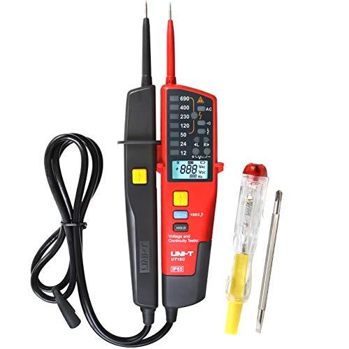 UNI-T UT18C Spannungstester und Durchgangsprüfer Wasserdichtes Spannungsmessgerät mit Phasenrotation, RCD, Polaritätsanzeige, Selbstüberprüfung und Erkennung ohne Batterie