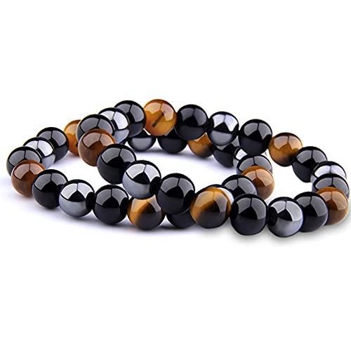 Pulseras de ágata negra / 2 cuerdas, pulseras de piedra natural de 8 mm, pulseras de pareja, regalos de joyería, accesorios de boda, tanto hombres como mujeres pueden usar