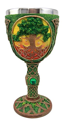 Ebros Gift Large Ancient Celtic Sacred Tree of Life Yggdrasil Wine Goblet Chalice Cup Figurine 8oz Symbol Of Rejuvenation Healing And Wisdom