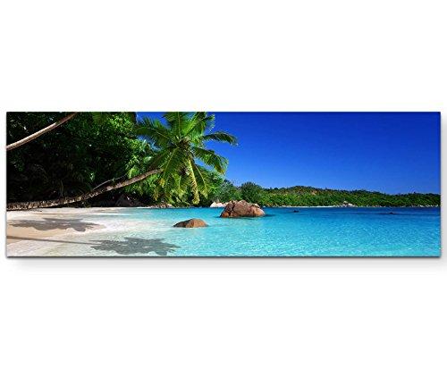 Paul Sinus Art Leinwandbilder | Bilder Leinwand 120x40cm Sandstrand auf den Seychellen