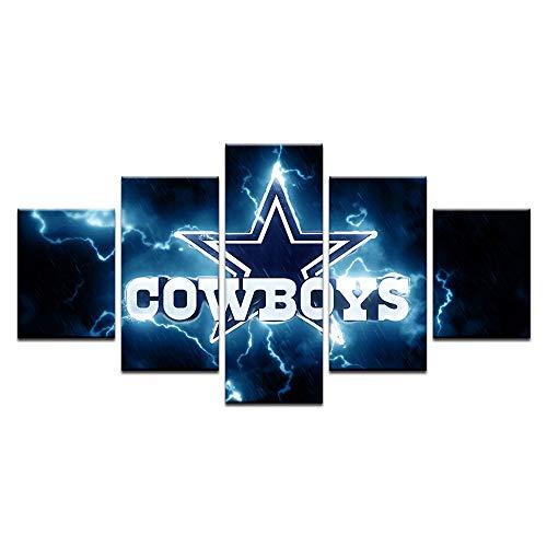 HAOSHUNDA Dallas Cowboys Sport Wall Art Home Decor Pictures 5 Panel Canvas Print Wall Art Gallery Wrapped(Framde) (16x24x2,16x32inx2,16x40inx1)