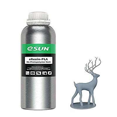 eSUN Plant-based 3D Printer Rapid Resin, 405nm LCD UV-Curing Photopolymer Resin Biodegradable PLA Resin for Photon LCD 3D Printer Liquid 3D Resin, 1000g Grey