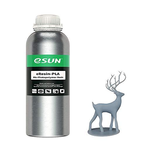 eSUN Plant-based 3D Resina Rápida Curado UV 405nm Resina PLA Biodegradable para LCD Impresora 3D Fotopolímero Resina Líquida de Impresión 3D, 1000g Gris