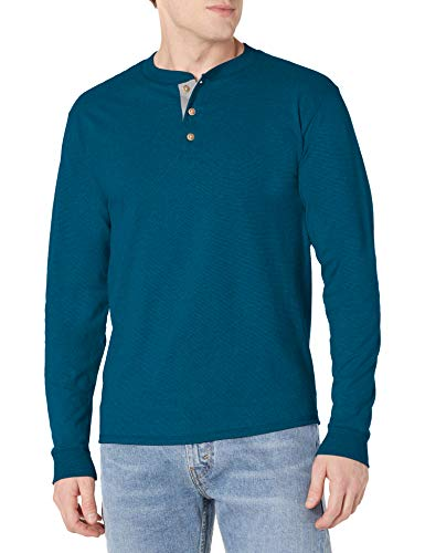 Hanes Men's Long-Sleeve Beefy Henley T-Shirt - Large - Petro Teal