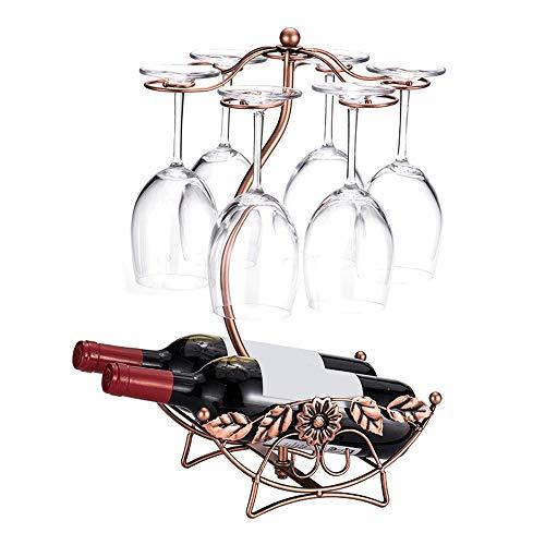 Casier à Vin Support de Table empilable Libre de Verre de vin en métal de comptoir de comptoir 2 Porte-Bouteilles de vin présentoir pour Cellier de Cuisine (Couleur : Bronze, Size : 2 Bottles)