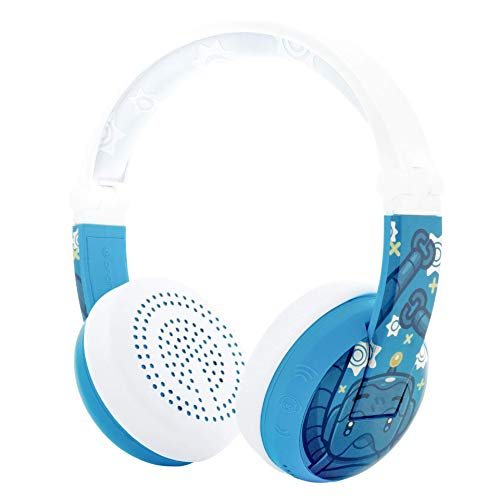 BuddyPhones WAVE - Waterproof Wireless Bluetooth Volume-Limiting Kids Headphones - 20-Hour Battery Life - 4 Volume Settings of 75, 85, 94db and StudyMode - Includes Backup Cable for Sharing - Blue