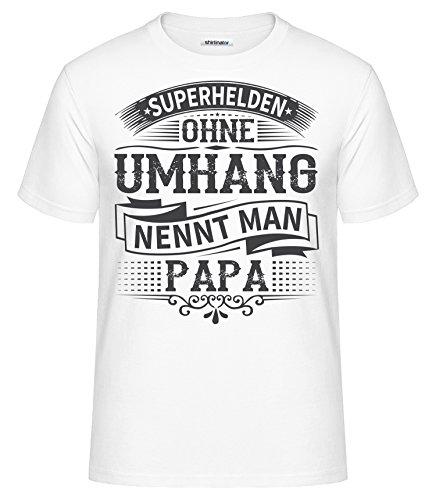 Shirtinator Shirt Superhelden ohne Umhang nennt Man Papa Geschenk Geburtstag Weihnachten Lustiges Herren T-Shirt mit Spruch Original (Weiß, XXL)