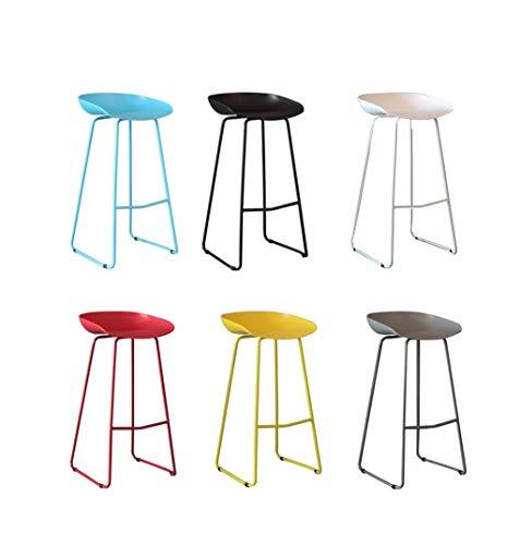 Repose-Pieds de Chaise Creative Iron Art tabourets de Bar Cuisine Petit déjeuner Barstool Bar Chaise Tabouret Haut 6 pièces Ensemble Noir/Gris/Blanc/Rouge/Jaune/Bleu (Taille : 66cm)