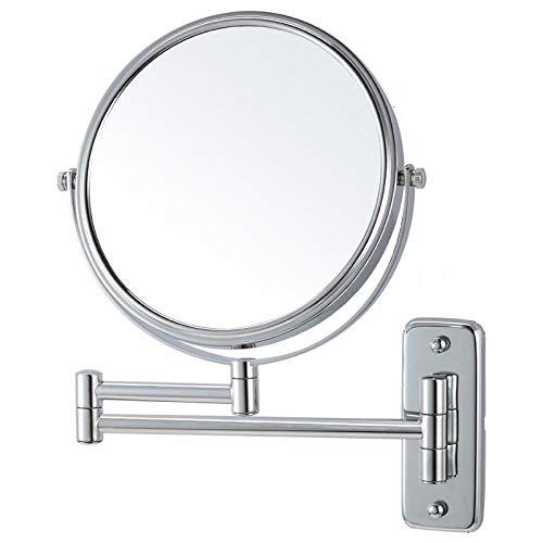 Lansi maquillaje espejo 7x lupa soporte de pared con decoración, de doble cara, redondo, 8pulgadas, acabado cromado