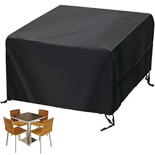 """Velway Patio Furniture Cover Outdoor, Waterproof Square Patio Table Chair Sofa Set Cover, 50""""Lx50""""Wx29""""H, All Weather Oxford Tear-Resistant Material with Zipper Carrying Bag Windproof Buckles"""
