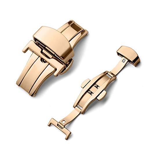 YGGFA Botilla de despliegue de Mariposa Automático Doble Clic en el botón de Correa de Acero Inoxidable para la Banda de Reloj 16mm 20mm 22mm 24mm Herramienta de Regalo