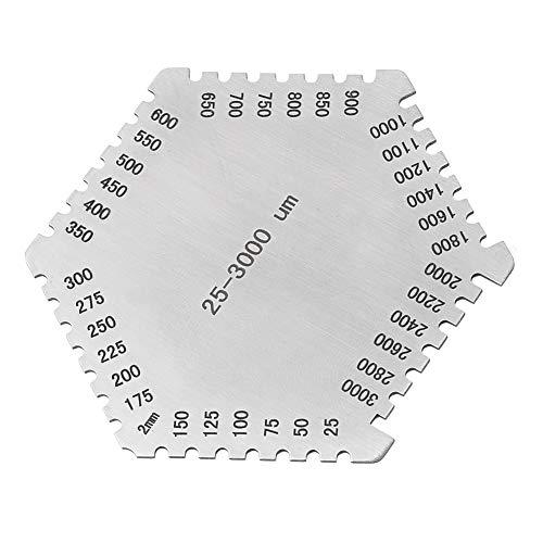 Calibro di spessore a film umido esagonale Calibro di spessore a pettine a film bagnato in acciaio inossidabile di alta precisione 25-3000um