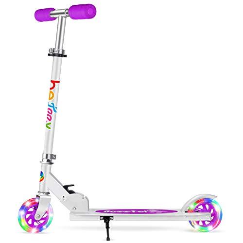 BELEEV Roller Kinder 2 Räder Klappbar Kick Scooter für Mädchen Jungen, 3 Höhenverstellbare Kinderscooter, PU LED-Räder Kinderroller(Violett)