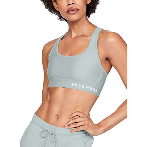 Under Armour Damen Armour Mid Crossback Heathered Sports Bra BH, Atlas Green Light Heather (189)/Weiß, X-Small