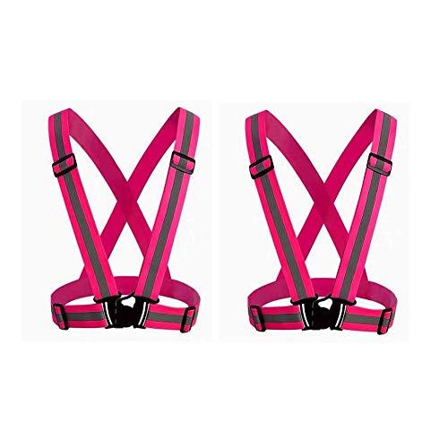 HYCOPROT 2パック反射安全ベスト、夜間のランニング、ジョギング、サイクリング、ハイキング、ウォーキング、フリーサイズ用の視認性の高い調整可能なリフレクターストラップ (ピンク)