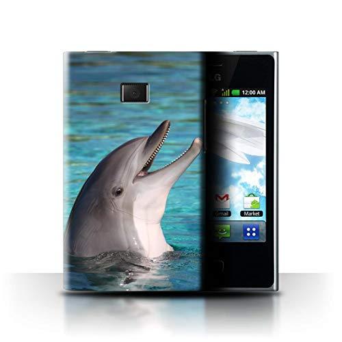 Stuff4® Hülle/Case für LG Optimus L3 E400 / Nettes Lachen Muster/Delfine Meereslebens Kollektion