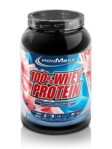 IronMaxx 100{8f4ceaa165f709ba1d65fe59616a51d2e85b4c55efe538a95605e117265f5868} Whey Protein – Proteinpulver auf Wasserbasis für Fitness-Shake – Eiweißpulver mit Erdbeer Geschmack – 1 x 900 g Dose