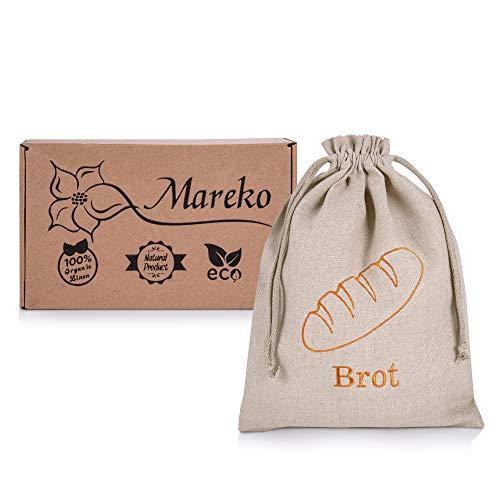 Mareko Brotbeutel Brotsack aus 100% Natur Leinen Brot Tasche Aufbewahrung von Backwaren Beutel zur Brotaufbewahrung mit Kordelzug Wiederverwendbar 30x40 cm