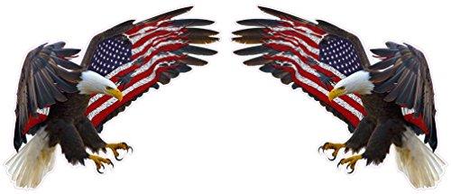 American Eagle American Flag Pair Decal 5' x 4' Each