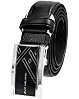 Basic Simple Mens Leather Belt Automatic Sliding Ratchet Adjustable Black Belt