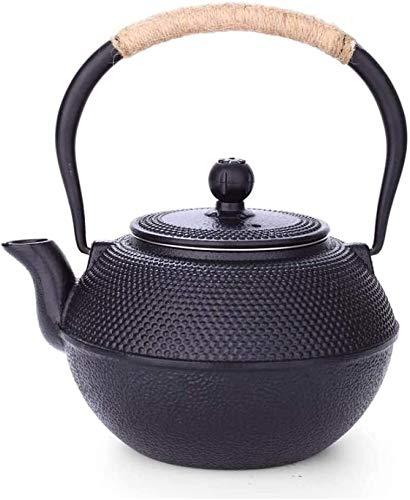Bouilloire induction Tea Pots EnaMel Kettle 1.2 Litres Mur intérieur Théière en fonte Théière ancienne Samurai Samurai Pig Iron Tea Ensemble Noir 18.5x19.5cm WHLONG