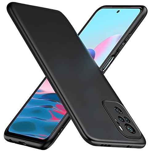 TesRank Funda Xiaomi Redmi Note 10, Carcasa TPU Suave Fundas para Xiaomi Redmi Note 10 Flexible [Resistente a arañazos] [Ultrafina Ligero]-Negro