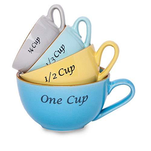 Allasta Stoneware Measuring Mugs Set 1 cup, 1/2 cup, 1/3 cup, 1/4 cup
