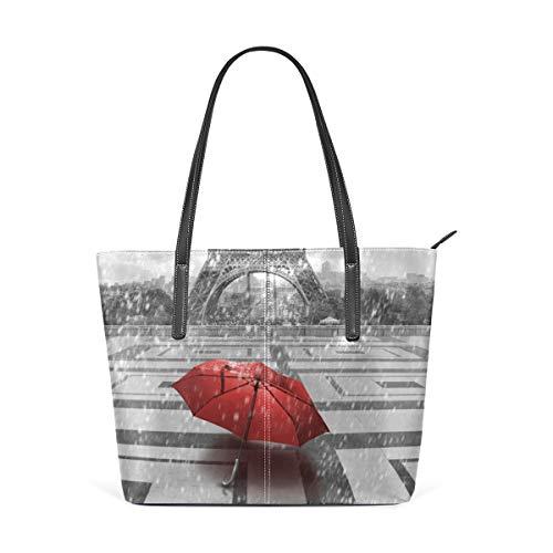 NaiiaN Liebe Leichtgewicht Gurt Geldbörse Einkaufen Leder Eiffelturm Roter Regenschirm Umhängetaschen Einkaufstasche Handtaschen für Frauen Mädchen Damen Studentin