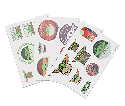 Pegatinas Star Wars impermeables y reutilizables. Paquete de pegatinas: 28 stickers The Mandalorian, optimas pegatinas para móvil, ordenador, tablet, etiqueta para botellas