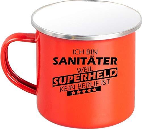 Shirtstown Taza de Café Ich Bin Sanitario, Weil Super Héroe No Oficio ist - Emailletasse Rojo, 300 ml