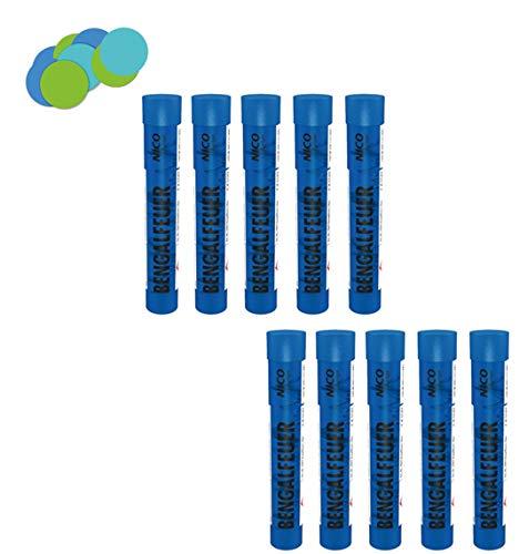Conipa Bengalfeuer Bengalos Kat F1 (10er Pack, Blau) + Konfetti