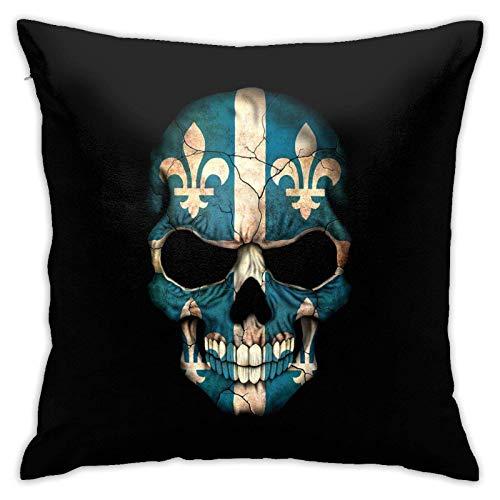 Funda de Almohada Cuadrada de Calavera con Bandera de Quebec Oscura para el hogar, sofá Decorativo,...