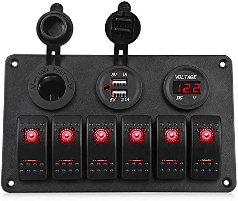 Herorider 6 Gang 24V LED Rocker Switch Panel Circuit Breaker Charger Dual USB Socket Cigaretter Plug Voltmeter Car Auto Charger   Green