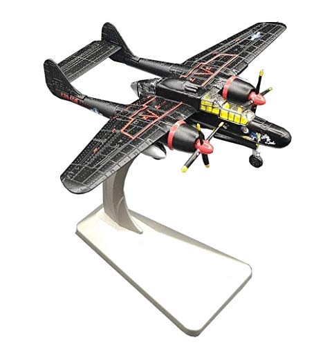 JHSHENGSHI 1/144 Scale Fighter Model, Military P-61 Black Widow Alloy Fighter Adult Collectibles And Gifts, 5.5Inch X4.2Inch